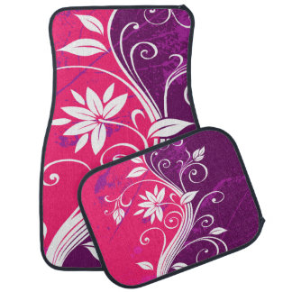 Purple and Pink Floral Grunge Floor Mat