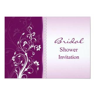 Purple and pink floral swirls Bridal Shower Invite