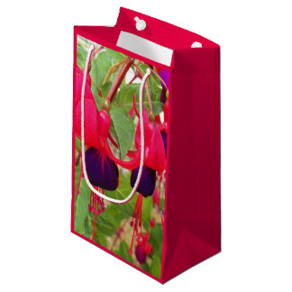 Purple and Pink Fuchsias Floral Small Gift Bag