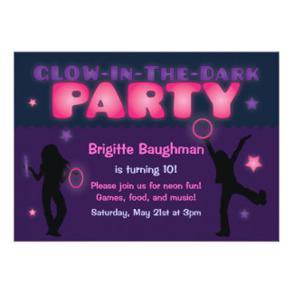 Purple and Pink Glow in the Dark Party Invitation