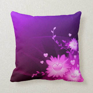 Purple and Pink Heart Decorative Accent Pillow