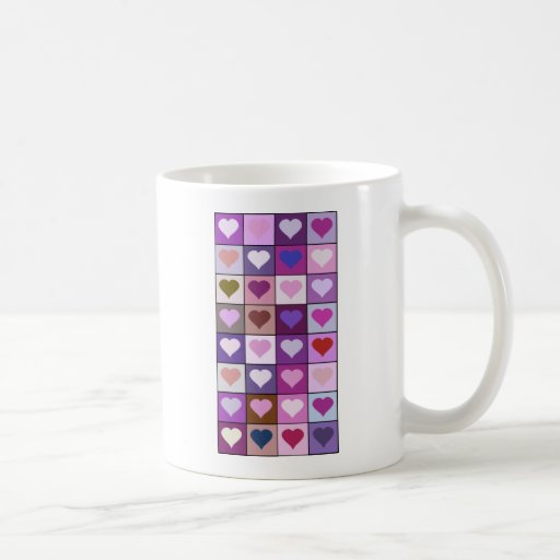Purple and Pink Heart Squares Mug