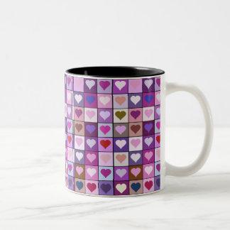 Purple and Pink Heart Squares Coffee Mug