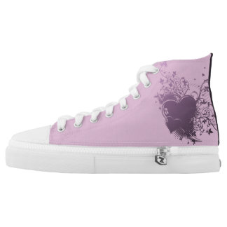 Purple and Pink Heart Tennis Shoes