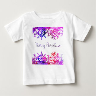 Purple and Pink Merry Chistmas Snowflakes Baby T-Shirt