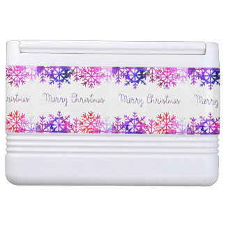 Purple and Pink Merry Chistmas Snowflakes Cooler