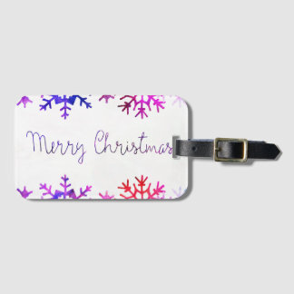 Purple and Pink Merry Chistmas Snowflakes Luggage Tag