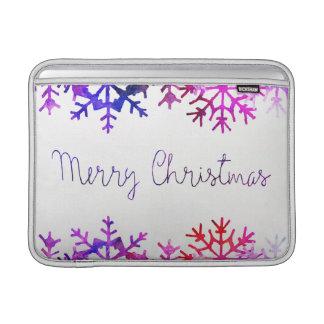 Purple and Pink Merry Chistmas Snowflakes MacBook Sleeve