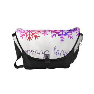 Purple and Pink Merry Chistmas Snowflakes Messenger Bag