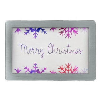 Purple and Pink Merry Chistmas Snowflakes Rectangular Belt Buckle