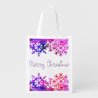 Purple and Pink Merry Chistmas Snowflakes Reusable Grocery Bag