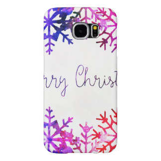 Purple and Pink Merry Chistmas Snowflakes Samsung Galaxy S6 Cases