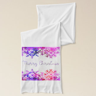 Purple and Pink Merry Chistmas Snowflakes Scarf