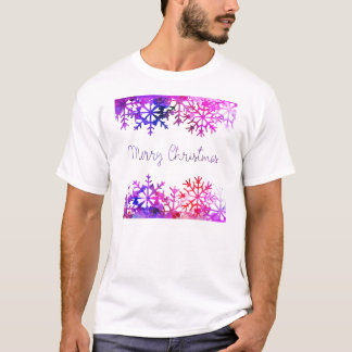 Purple and Pink Merry Chistmas Snowflakes T-Shirt