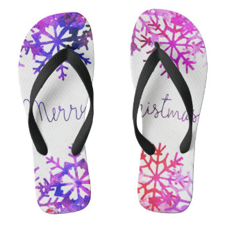 Purple and Pink Merry Chistmas Snowflakes Thongs