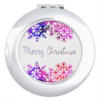 Purple and Pink Merry Chistmas Snowflakes Travel Mirrors