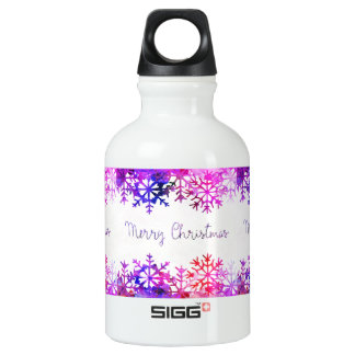 Purple and Pink Merry Chistmas Snowflakes Water Bottle