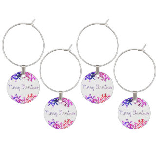 Purple and Pink Merry Chistmas Snowflakes Wine Charm
