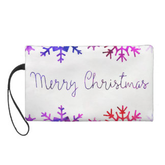 Purple and Pink Merry Chistmas Snowflakes Wristlet