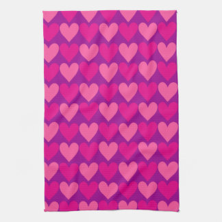 Purple and Pink Mod Hearts Hand Towels