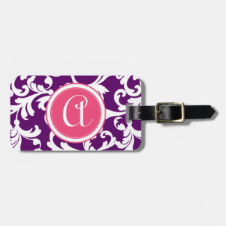 Purple and Pink Monogrammed Damask Print Luggage Tag