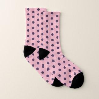 Purple And Pink Polka Dots Pattern Socks