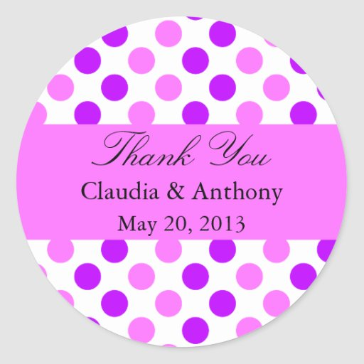 Purple and Pink Polka Dots Round Stickers
