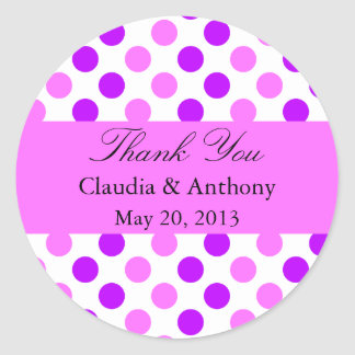Purple and Pink Polka Dots Wedding Classic Round Sticker