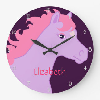 Purple and Pink Pony Personalized Wall Clock