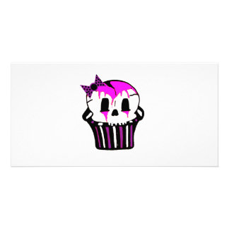 purple and pink skull cupcake photo greeting card