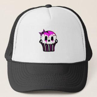 purple and pink skull cupcake trucker hat