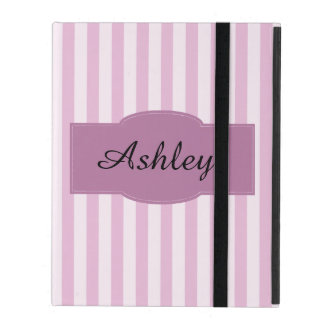 Purple and Pink Stripes Monogram Girly iPad Case