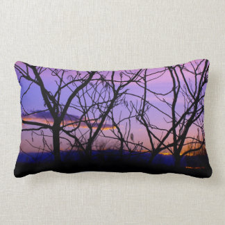 Purple and Pink Sunset Through Tree Silhouette Lumbar Cushion