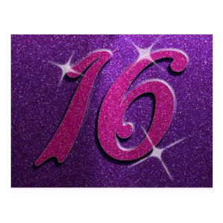 Purple and Pink Sweet Sixteen Birthday Postcard