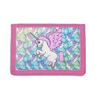Purple and Pink Unicorn Pattern Tri-fold Wallet