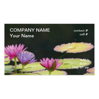 Purple and pink  water lilies business card template