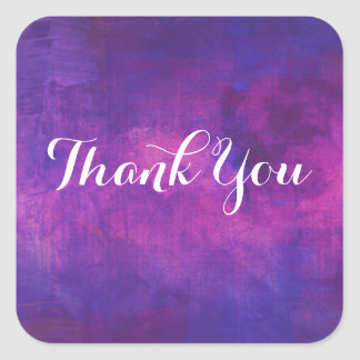 Purple and Pink Watercolor Abstract Thank You Square Sticker