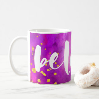 Purple and Pink Watercolor and Faux Gold   Believe Coffee Mug