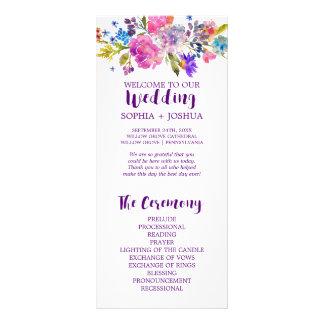 Purple and Pink Watercolor Flowers Wedding Program Rack Card