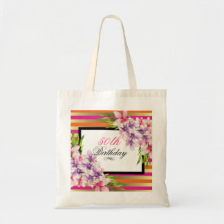 Purple and Pink Watercolor Magnolia Birthday Tote Bag
