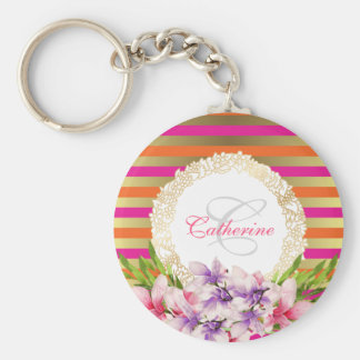 Purple and Pink Watercolor Magnolia Personalized Key Ring
