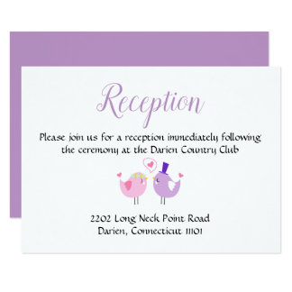 Purple And Pink Wedding Reception Lovebirds Card