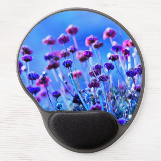Purple and Pink Wildflowers Gel Mouse Pad