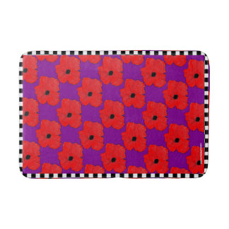 Purple and Really Red Poppy Flower Power Bath Mat
