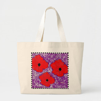 Purple and Really Red Poppy Flower Power Large Tote Bag
