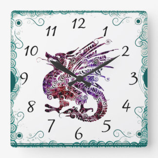 Purple and Red Chinese Art Dragon Clock