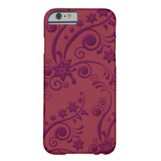 Purple and Red Floral Embossed Look iPhone 6 case