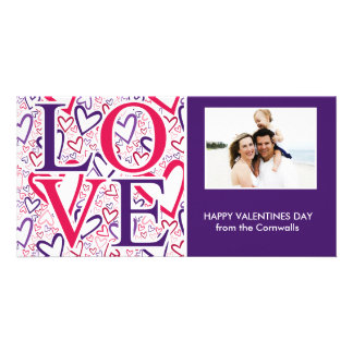 Purple and Red Hearts Pattern Valentines Day Photo Card Template