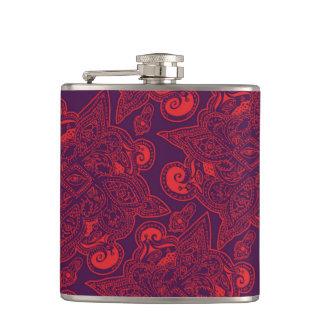 Purple and Red Persian Star Mandala Pattern Hip Flask