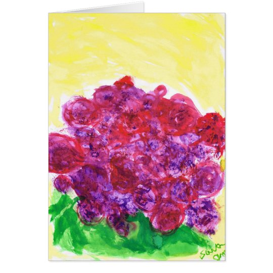 Purple and red roses card